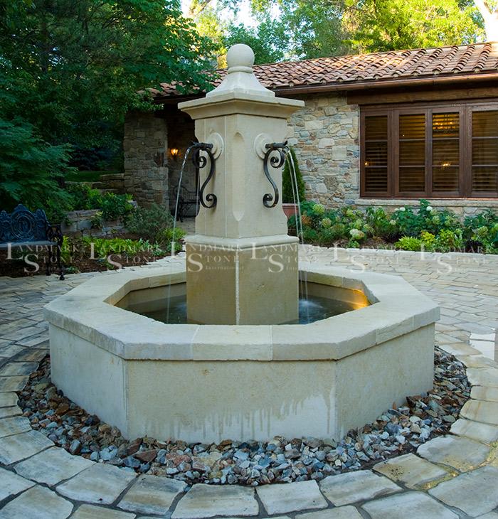 Crema-D'Oro-Limestone-Fountain