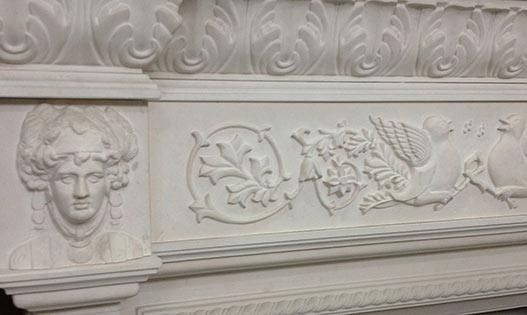 Limestone Carved Fireplace